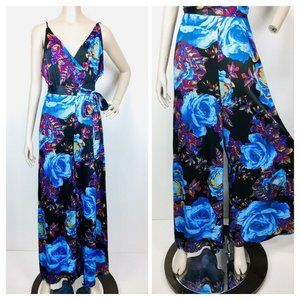 Free People Bold Floral Satin Wide Leg Jumsuit